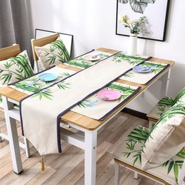 modern table cloths 2019 - Modern Chinese Style Table Flag Coffee Table Flag With The Coaster Cloth Chinese Ink Painting BD84A discount modern tabl