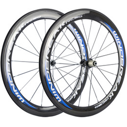 700C a pair carbon wheelset 60mm clincher road wheels 23mm width bicycle fiber wheels with black R13 Hub on Sale