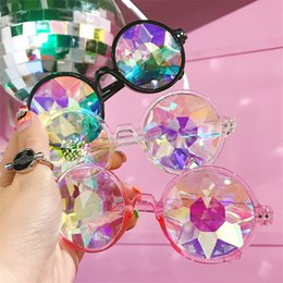 $enCountryForm.capitalKeyWord Australia - Wholesale-Round Kaleidoscope Sunglasses Retro Party Designer Rave Festival MOSAIC Glasses Eyewear For Female Male Free Shipping