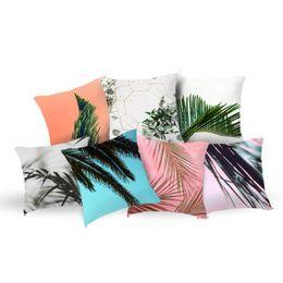 Decorative Leaf Plants UK - Removable Tropical Plants Pillow Case Polyester Decorative Pillowcases Green Leaves Throw Pillow Cover Square 45*45cm Poszewki Na Poduszki