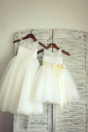 Tea Shirts For Girls Australia - Champagne Sash Lace Tulle Custom Cute Little Flower Girl Dress For Wedding Tea Length Hand Made Flowers Bows Kids Prom Birthday Dress