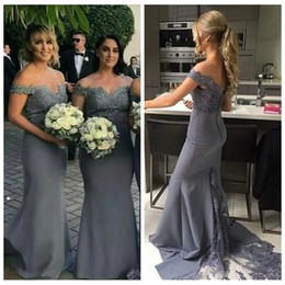 T Shirt Under Shoulder Australia - 2019 Cheap Silver Bridesmaid Dresses Off Shoulder Arabic Mermaid Lace Applique Long Button Back Dubai Maid Of Honor Wedding Party Prom Gowns