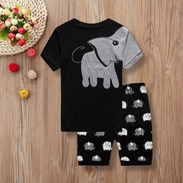 Discount kids elephant top - good quality Children clothing set 2PCs Kid Baby Boys Short Sleeve Clothes Set Elephant Print Tops+Shorts Outfits kids w