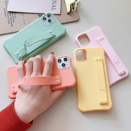 designs for iphone cases Canada - New Design Wristband Phone Case For iPhone 11 Pro X XR XS Max 7 8 Plus Phone Case Fashion Candy Color Soft For iPhone 11Pro 8Plus