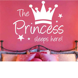 Sleep Wall Decal Sticker Australia - Wall Stickers The Crown Princess Sleep Here Star Kids Room Living Room Decorative Wall Decal Vinyl Removable DIY Home Decor