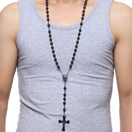 Men Pendant Coin Australia - cross pendant Meaeguet 76cm Chain Black Stainless Steel Bead Chain Rosary Jesus Christ Cross Pendant Long Charm Necklace For Men