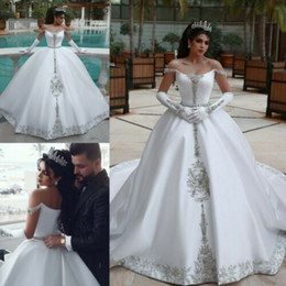 white winter church dress UK - Dubai Saudi Arabia Formal Church Wedding Dresses 2020 Luxury Crystals Off Sholder Long Satin Ball Gown Vestidos De Novia Plus Size AL4305