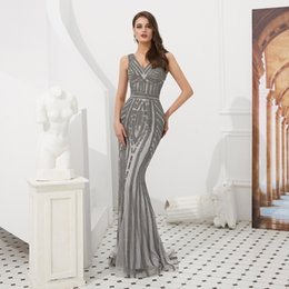 6ced1266d8 2019 Elegant Silver Gray Sexy Deep V Neck Party Prom Dress Luxurious Bodice  Sequins Beaded Long Fishtail Evening Dress