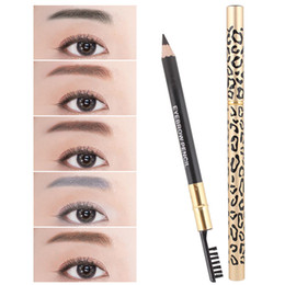 leopard pens Australia - hot sale Leopard eyebrow pencil double-head Waterproof Long lasting Anti-smudge Eyebrow pen 5 colors mixed color