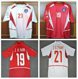 Discount south korea shirts - World Cup Retro Soccer jerseys 2002 World cup south korea home Away White short sleeve J H AHN J S PARK Jung-Hwan Park J
