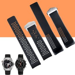 c1726086ede Watchband 22mm 24mm Stainless Steel Deployment Black Diving Silicone Rubber  Holes Watch Band Man Strap for T-A-G Gear S3