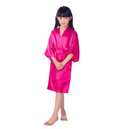 China 2019 New Bathrobe for Children Satin Childrens Summer Sleep Bath Robes Bridesmaid Girl Dress Silk Child Nightgown Solid Robe cheap new childrens summer dresses suppliers