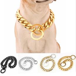 Collari a catena placcati oro placcato oro 15mm Collari a catena in acciaio inossidabile 316L per cani di grossa taglia Pitbull Bulldog 12-34