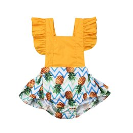 Cool Baby Clothes UK - Cool Summer Cute Newborn Baby Girl Romper Pineapple Patchwork Jumpsuit Ruffle Flying Sleeve Sunsuits Baby Girl Clothes