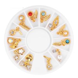 $enCountryForm.capitalKeyWord Australia - Alloy Nail Art Rhinestones 3d Nail Pearl Charm Jewelry Mix Feather Leaf Heart Bow Designs DIY Manicure Nails Decorations 1 Box