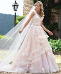 $enCountryForm.capitalKeyWord NZ - 2019 A-line Ivory Pink Colored Wedding Dresses V Neck Sleeveless Ruffles Skirt Women Formal Colorful Bridal Gowns With Color Custom Made