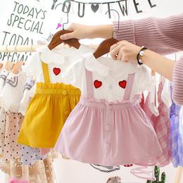 $enCountryForm.capitalKeyWord Australia - Ins Korean Girl's Dress Summer 19 Fake Two Short-sleeved T-shirts Spliced with Suspenders Short-skirt Children's Skirt Wholesale