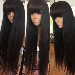 slove hair Canada - 180% Straight Lace Front Human Hair Wigs For Women Natural Black Remy Brazilian 13x4 Fringe Wig With Bangs Bleached Slove Hair