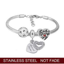 mothers charm chain Australia - New Snake chain Bracelet DIY cute little Heart Mother charm beads, suitable for original Pandoras bracelet jewelry