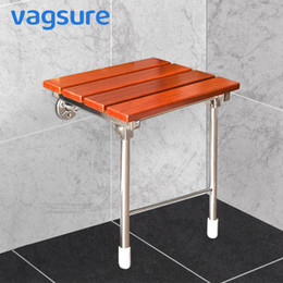 $enCountryForm.capitalKeyWord UK - Wall Mounted Shower Solid Wood Shower Seat Stainless Steel Folding Chair Relaxation Bench Saving Space Non-barrier Bathroom