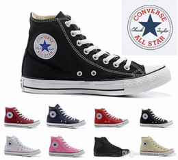 Wholesale 2019 size35 New Unisex Low Top High Top Adult Women s Men s star Canvas Shoes colors Laced Up Casual Shoes Sneaker shoes retail