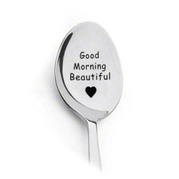 Girlfriend anniversary Gifts online shopping - Gift for Boyfriend Stainless Steel Diy Spoon Good Morning Handsome Beautiful Girlfriend Present Valentines Day Gift Anniversary cm