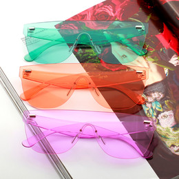 wholesale trending products Australia - ladies sunglasses 2019 trending products orange blue pink big frameless sun glasses women retro festival oculos de sol feminino