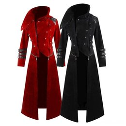 vintage style clothing men Canada - NEW Men Cosplay Costume Party Vintage Royal Style Men's Outerwear & Men's Clothing Trench Coats Retro Gothic Steampunk Long Coats Palace Gen