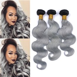 Silver Grey Hair Extensions Australia - Platinum Grey Ombre Hair 3 Bundles Two Tone 1B Grey Human Hair Extensions Silver Gray Dark Roots Body Wave Brazilian Human Extensions