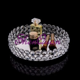 Bling Party Decorations Australia - Marriage decoration cake tray ,mirror bling bling crystal beads round vanity tray in silver,metal cake tray
