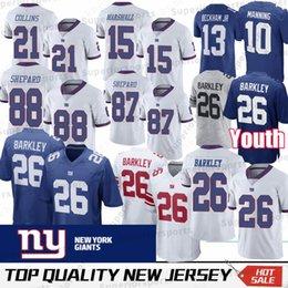c3e60bc72 Embroidery 26 Saquon Barkley New York Gaint 10 Eli Manning 21 Landon  Collins 13 Odell Beckham Jr 87 Sterling Shepard jersey 100% Stitched