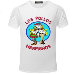 short summer breaks Canada - New LOS POLLOS Funny Chicken Print tshirt Breaking Bad Summer Slim T-shirt Casual Fashion O-neck Short sleeve t shirt men S5MC39