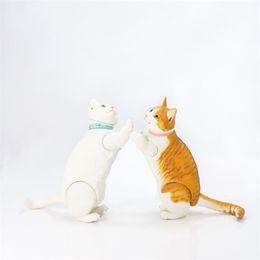 White Shorts Australia - Yamaguchi, kitten, TIGER-SPOTTED cat, white, movable short-legged, hand-made model
