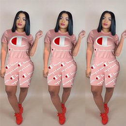 Wholesale sexy suits t for sale – designer Wommen Shorts Outfit Summer Champions Letter Tracksuit Fashion Letter Printed Short Sleeve T shirt Tops Shorts piece Set Casual Suit A3197