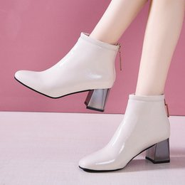 Simple ShoeS bootS online shopping - 2019 New Simple Spring Autumn Female Ankle Boots Women s Square High Heels Back Crystal Zipper Booties Woman Daily Dress Shoes