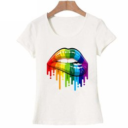$enCountryForm.capitalKeyWord Australia - Hipster Cool Girl New Women Summer Tops Tees Sexy Color Lips Painted T Shirt Cotton Short Sleeve Brand Fashion Round Neck Tshirt