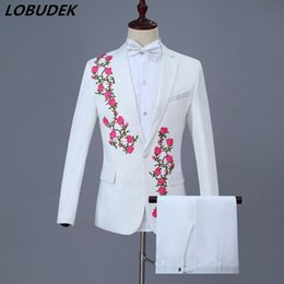 $enCountryForm.capitalKeyWord Australia - White Mens Suits Adult Choral Dress Flowers Embroidery Blazers Suit Host Singer Chorus Costume Wedding Studio Stage Outfits