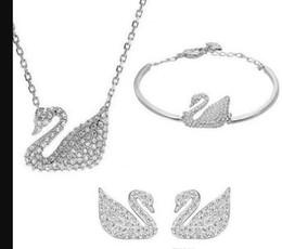 $enCountryForm.capitalKeyWord Australia - Austrian Crystal Swan Jewelry Set for Women Made With Elements Animal Jewelry Sets