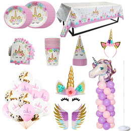 $enCountryForm.capitalKeyWord NZ - Unicorn Party Decors Birthday Disposable Tableware Kit Unicorn Balloon Cups Plates Napkin Kids Birthday Unicornio Party Supplies
