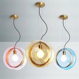 Kitchen Cafe Australia - Nordic Colorful Glass Ball Pendant Lights Creative Personality Designer Suspension Luminaire Bedroom Cafe Kitchen Home Deco Lamp
