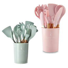 silicone cooking tools Canada - 9 10 12PCS Silicone Cooking Utensils Set Non-stick Spoon Colander Shovel Beater Wooden Handle Cooking Tools Kit With Storage Box T200415