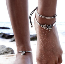 Om Plastic Australia - European and American new national retro wind starfish rune om yoga pendant anklet beach foot ring
