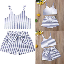 baby girl white tops 2019 - Toddler Baby Girls Kids T-shirt Vest Tops + Short Pant Outfit Clothes Set cheap baby girl white tops
