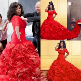 $enCountryForm.capitalKeyWord NZ - Fashion Oprah Show Mermaid Prom Dresses With Cathedral Train Scoop Neckline Half Sleeves Plus Size Formal Evening Dress African Runway Dress