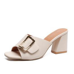 men platform slip 2019 - Fabric slipper Fashion Slip-On Concise wedge Wedges Casual women platform High Slides Med summer Square heel slides modi