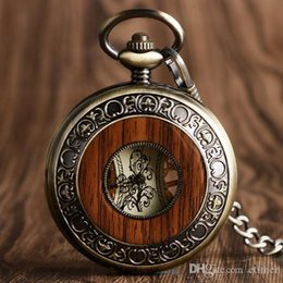 self winding pocket watch Canada - Vintage Wood Mechanical Pocket Watch Roman Numerals Carving Flower Dial Creative Fob Watches Pendant Women Men Gifts