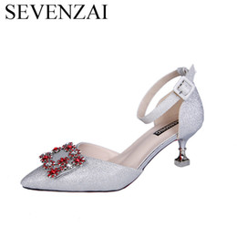 low heel evening shoes rhinestones Australia - dress wedding women pumps trend designer high heels 5 7cm ladies party evening shoes female footwear rhinestones shiny for woman