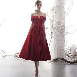 Short Simple Modest White Dresses Australia - Red Vintage Tea Length Short A-line Modest Wedding Dresses Off the Shoulder Corset Back Informal Simple Non White Bridal Gowns New 2019