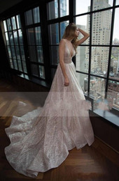 $enCountryForm.capitalKeyWord Australia - 2019 New Glamorous Berta Wedding Dress Sexy Plunging V Neck A-line Backless Shiny Glitters Fabic Latest Bridal Gowns Custom Made