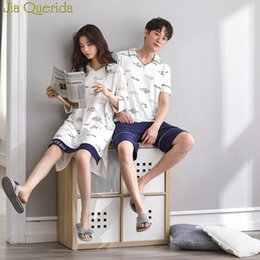 9b55a95ab6 J&Q Men And Women Nightwear 2019 Summer New Shorts Cute Fishes Print Cotton  2 Pieces & Gown Leisure Couple Matching Pajamas Suit